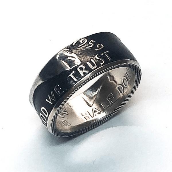 Franklin Half Dollar Powder Coat Coin Ring